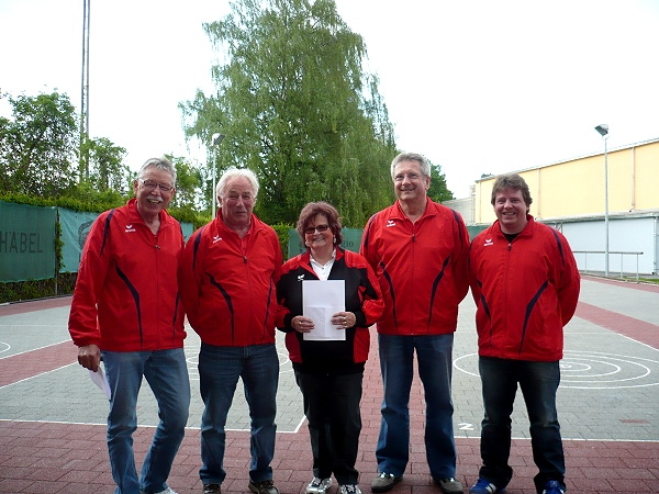 Adi Ottl, Lothar Oberpriller, Abteilungsleiterin Marianne Heindl, Bernd Grünleitner und Thomas Preuß v.l.